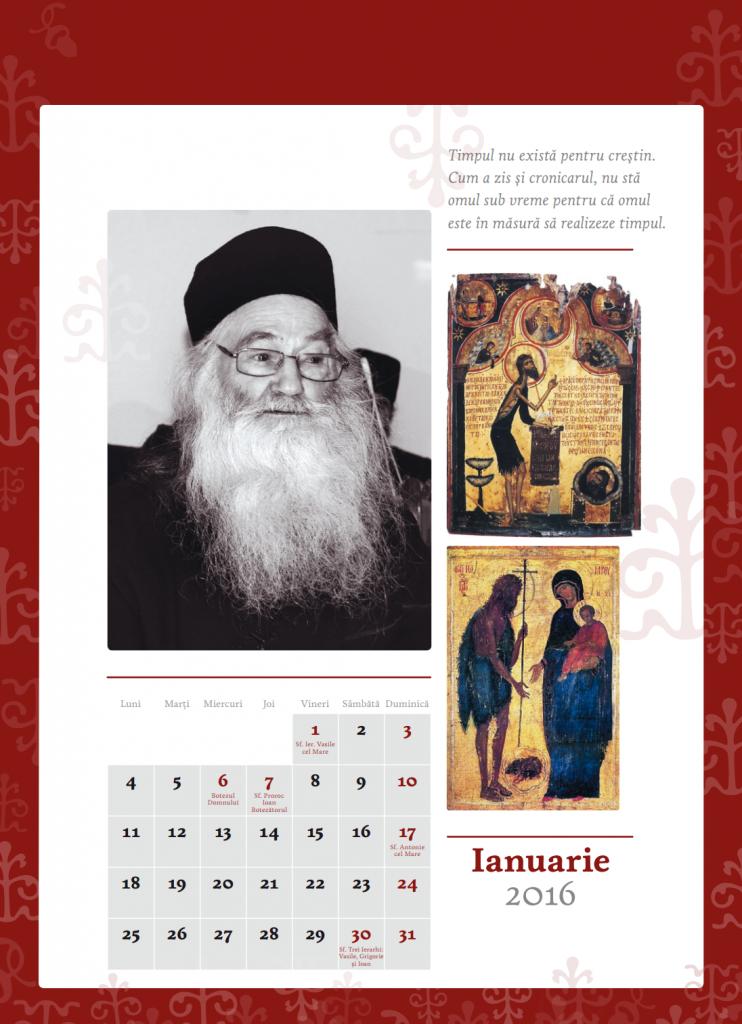 Calendarul contine imagini cu Părintele Justin
