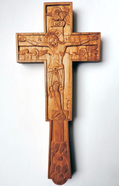 Cruce de mână sau de perete din lemn de cireș, model C